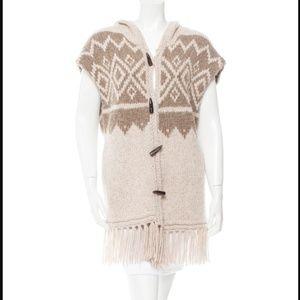 ULLA JOHNSON Hooded Fringe-Trimmed Poncho Sweater